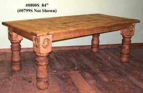 Rustic Pine Furniture 0800S 84 in Log Leg W/Star Table