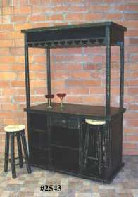 Rustic Pine Furniture 2543 Bar Wood W/Caster & Barstool