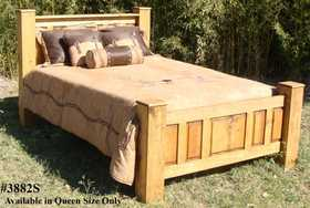 Rustic Pine Furniture 3882S Queen Size Big Post Bed Set
