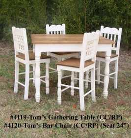 Rustic Pine Furniture 4119S Toms Rustic Pine Gathering Table W/4 Chairs