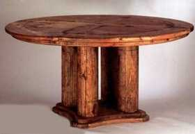 Rustic Pine Furniture 390 51 in Log Leg Round Table