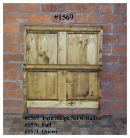 Rustic Pine Furniture 1571 Bed Set Queen Sleigh W/Rails Rails Only 84 in