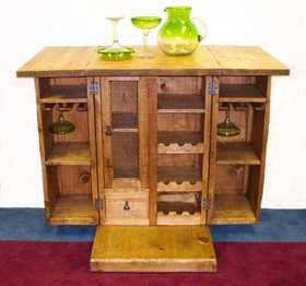 Rustic Pine Furniture 3217 Port Bar With Casters