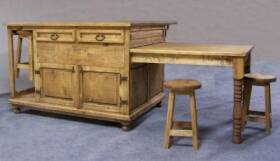 Rustic Pine Furniture 3241 Kitchen Island With Sliding Table