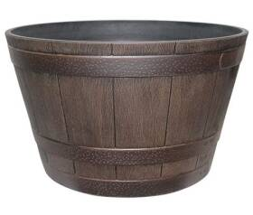 Southern Patio HDR-007197 15.5 in Hdr Whiskey Barrel Planter Kentucky Walnut