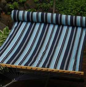 ALGOMA NET CO 2932DDL Quilted Fabric Hammock With Matching Pillow Blue Stripe