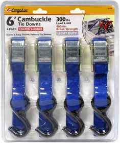 Cargoloc 52306 4 Pc 6 ft Cambuckle Tie Downs