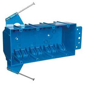 Thomas & Betts B455AR-UPC 4-Gang 55 Cu In Blue Non-Metallic Outlet Box With Captive Nails And Bracket Support