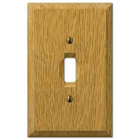 Amertac 4025T Carson Light Oak Wood 1 Toggle Wallplate