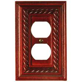 Amertac 4011DM Rope Mahogany Solid Wood Wallplate, 1 Duplex Outlet