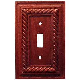Amertac 4011TM Rope Mahogany Solid Wood Wallplate, 1 Toggle