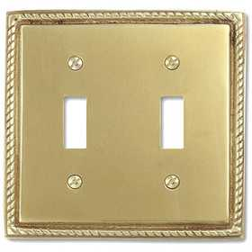 Amertac 53TT Georgian Solid Brass 2 Toggle Wallplate