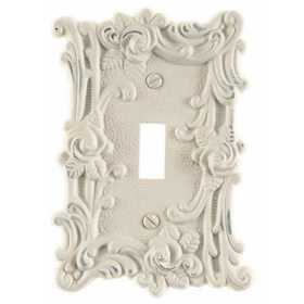 Amertac 60TAW Provincial Antique White Cast Metal Wallplate, 1 Toggle