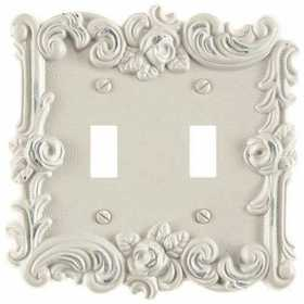 Amertac 60TTAW Provincial Antique White Cast Metal Wallplate, 2 Toggle