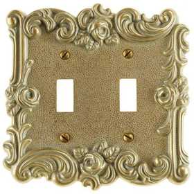 Amertac 60TTCG Provincial Country Gold Cast Metal Wallplate, 2 Toggle