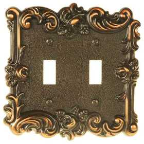 Amertac 60TTVB Provincial Aged Bronze Cast Metal Wallplate, 2 Toggle