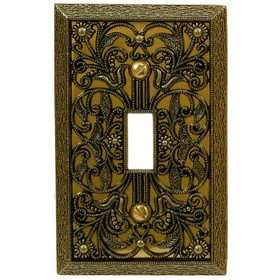 Amertac 65TAB Filigree Antique Brass Cast Metal Wallplate, 1 Toggle