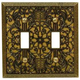 Amertac 65TTAB Filigree Antique Brass Cast Metal Wallplate, 2 Toggle