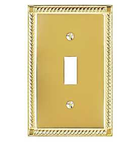 Amertac 53T Georgian Solid Brass Wallplate, 1 Toggle
