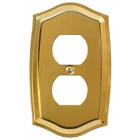 Amertac 76DBR Sonoma Polished Brass Solid Brass 1 Duplex Outlet Wallplate