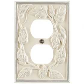 Amertac 8335DW Leaf White Resin Wallplate, 1 Duplex Outlet