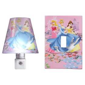 Amertac D1121C Disney Princess Nite Lite and Matching Wallplate Combo Pack