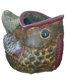 Amigos Pottery 628 Medium Fish Planter 14.5 in