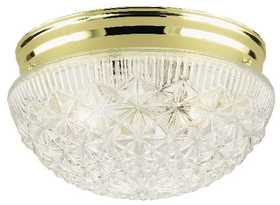 Westinghouse Lighting 66698 Flush Mount Ceiling Light 2-Light PB/Clear Faceted Glass