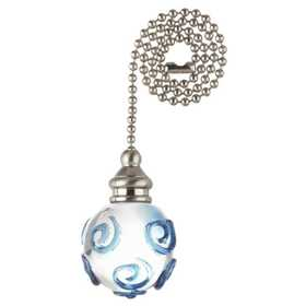 Westinghouse Lighting 7762100 Clear And Blue Swirl Glass Orb Pull Chain