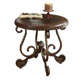 Signature Design By Ashley T382-6 Round End Table Rafferty Dark Brown
