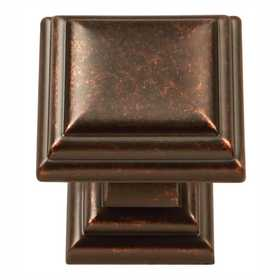 Hickory Hardware HH74554-DAC 1-1/8 in Sommerset Square Cabinet Knob Dark Antique Copper