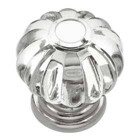 Hickory Hardware HH74689-CA14 1-1/4 in Crystal Place Crysacrylic Bright Nickel Cabinet Knob