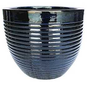 BFG Supply, LLC 2662A Michael Carr Designs Ribbed Planter In Glossy Black 19.3 in