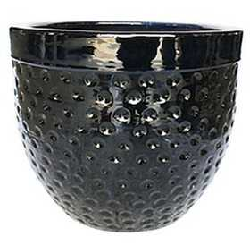BFG Supply, LLC 2666C Michael Carr Designs Dimpled Planter In Glossy Black 12 in