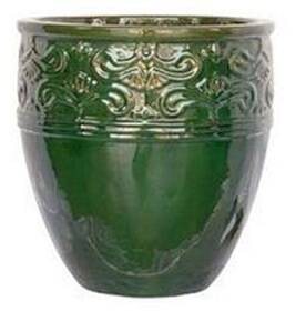 BFG Supply, LLC 2787B Michael Carr Designs Tall Round Lotus Planter In Glass Green 14.6 in