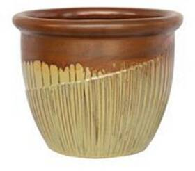BFG Supply, LLC 2728C Michael Carr Designs Round Planter In Ancient Red On Yellow Cream 11 in