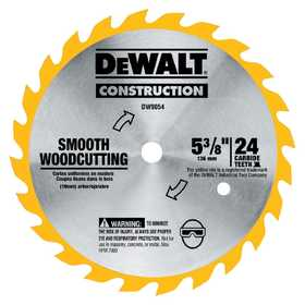 DeWalt DW9054 5-3/8 In 24t Carbide Blade (Smooth Woodcutting)