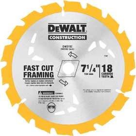 DeWalt DW3592B10 7-1/4 in 18t Carbide Thin Kerf Circular Saw Blade