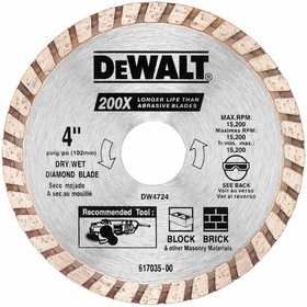 DeWalt DW4724 4 In High Performance Diamond Masonry Blade