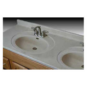 Imperial Marble DS6119 Double Recessed Oval Bowl Vanity Top 61x19 White