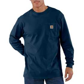 Carhartt K126NVY Mens Long Sleeve Workwear Pocket T Shirt Mr