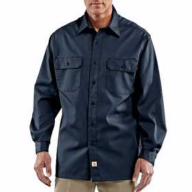 Carhartt S224 NVY Long-Sleeve Twill Work Shirt 2xl