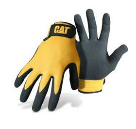 CAT CAT017416L Yellow Nylon Glove With Nitrile Coated Palm Size Large