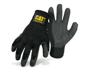 CAT CAT017410J Black Lined Poly/Cotton Glove With Latex Palm And Diesel Power Logo Size Large