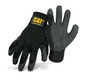 CAT CAT017400M Black Poly/Cotton Glove With Latex Palm And Diesel Power Logo Size Medium