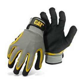 CAT CAT017415M Black And Gray Poly/Cotton Glove With Double Coated Latex Palm Size Medium