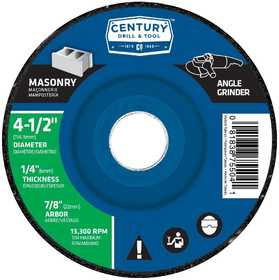 CENTURY DRILL & TOOL CO 75504 Wheel Grind Masonry 41/2x1/4 in