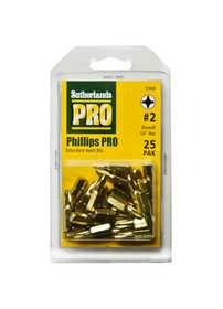 Sutherlands Pro 53868 25-Piece #2 x 1 in Pro Phillips Extra Hard Screw driving Bit Multi-Pack