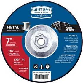 Century Drill & Tool 75572 Wheel 7 in X 1/4 in X 5/8 in -11