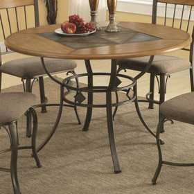 Coaster 120771 1207 Round Dining Table With Metal Legs And Wood Top